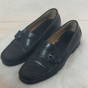 Bally Buck slip on leather penny loafer shoes 7.5